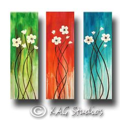 Abstract Flower Painting 36 x 36 inches by KAG CUSTOM painting