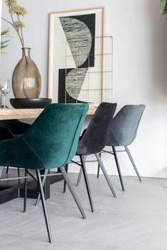 Luci Eetkamerstoel Velvet Groen   Oosterbaan Living Dining Room Chairs, Table And Chairs, Tables, Velvet Shop, Home And Living, Living Room, Interior Inspiration, Decoration, New Homes