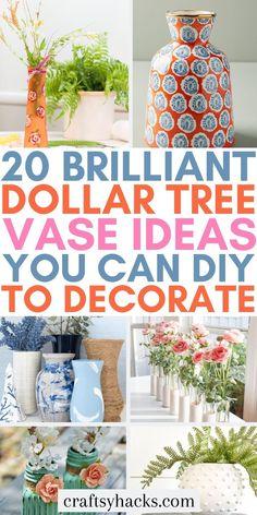 Dollar Tree Vases, Dollar Tree Crafts, Cute Crafts, Diy And Crafts, Diy Confetti, Trendy Home Decor, Gold Spray Paint, Diy Canvas Art, Diy On A Budget