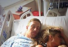 Kim Zolciak naps by her man. The pregnant with twins reality starlet did not leave her football player husband, Kroy Biermann's, side Friday after he underwent surgery for tearing his Achilles tendon during last Sunday's Atlanta Falcons game.