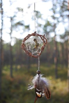 Native Sky totem series. Tribal bird spirit totem. Native american dream catcher made of wild tree root, a material not easily found under fallen trees.