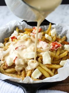 Lobster Poutine with Brown Butter Cheese Sauce | yestoyolks.com Sauce Poutine, Poutine Recipe, Cheese Curds, Cheese Sauce, Meat And Cheese, Lobster Recipes, Seafood Recipes, Lobster Fries Recipe, Cod Recipes