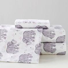 Winter Elephant Flannel Sheet Set, Extra Pillowcases, Multi