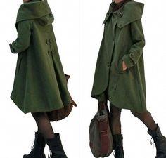 dark green cloak wool coat Hooded Cape women Winter wool coat, via Etsy.