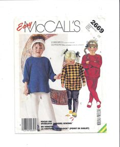 McCall's 2669 Pattern for Children's Top & Pants for Stretch Knits, From 1986, Sizes 4, 5, 6, Easy McCall's, Vintage Pattern, Home Sewing by VictorianWardrobe on Etsy