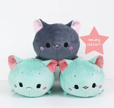 PDF Plush sewing pattern - Cat Roll kawaii cute stuffed animal - DIY easy softie toy 12""
