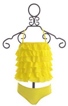 To The 9's Tankini for Girls in Polka Dot Ruffle Yellow (4,5,6X,7,14) $56.00
