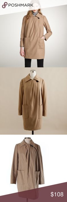 """J. Crew WOOL-CASHMERE  COAT Excellent Used Condition. Material Tag was cut. Length 33"""". Armpit to armpit 20"""" . Hip can extend to 46"""".                                          J. Crew by Nello Gori wool cashmere Capella coat.  Features overlap pleated front side closure, one visible and two interior buttons.  Two patch pockets at front.  Lined. 75% wool, 20% nylon, 5% cashmere. J. Crew Jackets & Coats"""