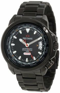 Precimax Men's PX12100 Tour Automatic GMT Black Dial Watch Precimax. $161.99. Stainless steel case with stainless-steel band. Water-resistant to 100 M (330 feet). Scratch resistant, shatter resistant sapphimax crystal. Case diameter: 45 mm. Automatic movement
