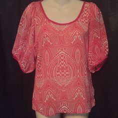 FOREVER 21 Red Tribal Top Like new! Sheer, fun lightweight top with a red tribal design and red trim. Forever 21 Tops