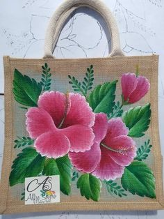 Hand Painted Fabric, Painted Bags, Flamingo Painting, Fabric Paint Designs, Funny Paintings, Tole Painting Patterns, Crochet Square Patterns, Jute Bags, Flower Applique