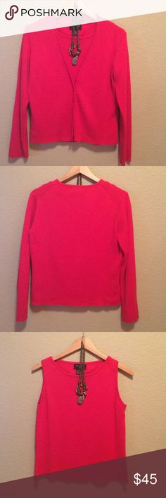 Beautiful sweater set, 2piece. Extremely soft NWOT Two twenty five cardigan set, beautiful & extremely soft & comfy.  55% acrylic, 45% cotton. Hand or gentle cycle wash. NWOT necklace not included in price. More of an orange red. Two Twenty Five Sweaters Cardigans