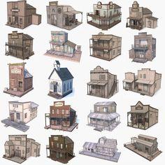 3d western buildings