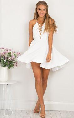 Spun Up dress in white lace
