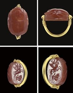 AN ETRUSCAN CARNELIAN SCARAB AND GOLD FINGER RING CIRCA LATE 5TH CENTURY B.C. The large beetle with a crosshatched plinth, well-defined legs and head, a hatched border to the thorax, and outlined elytra with corner V winglets, the underside engraved with Bellerophon and the Chimaera, the hero riding the winged horse Pegasus, a spear in his raised hand, the horse with a ring of beads around its neck, the Chimaera in the form of a lion with its head turned back,