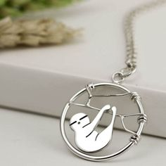 Sterling Silver Sloth Necklace - Sloth Jewellery - Sloth Gift - Pendant Necklace - Handmade in England
