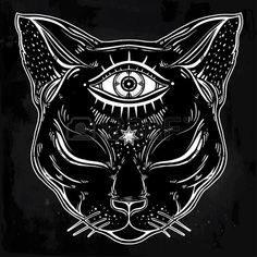 Black cat head portrait with moon and three eyes. Third eye is..