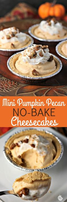 Mini Pumpkin Pecan No-Bake Cheesecakes | by Renee's Kitchen Adventures - easy dessert recipe for little pumpkin cheesecakes perfect for Thanksgiving or Christmas holidays #EffortlessPies ad @realreddiwip @dannonoikos