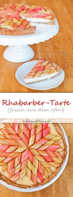 - Rhabarber-Tarte {frisch aus dem ofen} Rhubarb tart {fresh from the oven} Rhubarb Recipes, Tart Recipes, Cupcake Recipes, Sweet Recipes, Dessert Recipes, Snack Recipes, Brownie Recipes, Rhubarb Tart, Cream Recipes