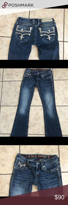 Rock revival caress boot cut jeans Perfect condition rock revival caress boot cut. These are gorgeous, but I've lost weight and these no longer fit me. These are nice and stretchy. Would be willing to trade for a stretchy 24 or 25. Rock Revival Jeans Boot Cut