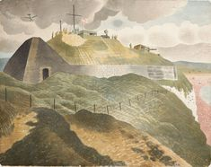 Eric Ravilious was a printmaker, watercolourist and war artist whose reputation has always stood high. A contemporary of Henry Moore at the Royal College o. Watercolor Print, Watercolour Painting, Landscape Paintings, Landscapes, World War Two, Art Google, Printmaking, Illustrators, Modern Art
