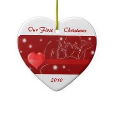 Our First Christmas Kissing Couple Heart Ornament