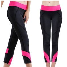 NWT black and pink yoga leggings (S/M) BNWT! Ships same or next day. Boutique Pants Leggings