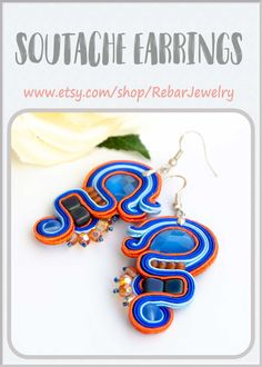 Long blue and orange soutache earrings for everyday, unique dangle artisan colorful earrings in boho style, designer modern jewelry