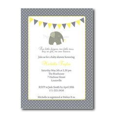 Elephant Baby Shower Invitation in grey and yellow, Gender Neutral  by RocajoStudio,
