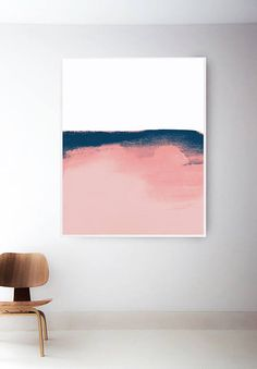 Blush Pink and Blue Print. Minimal Pink Watercolor Art.