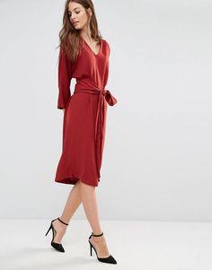ASOS Sisley V-Neck Obi Midi Dress