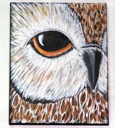 Owl Eye Acrylic Painting Nature Wildlife Wall Art Bird of Owl Paintings, Wildlife Paintings, Wildlife Art, Acrylic Paintings, Owl Wall Art, Acrylic Wall Art, Owl Art, Eye Painting, Autumn Painting