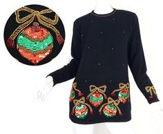 Vintage 80s Sequin Ornament Christmas Sweater - Petite Small - Women's Beaded Sequined Long Silk Angora Blend Tacky Holiday Jumper