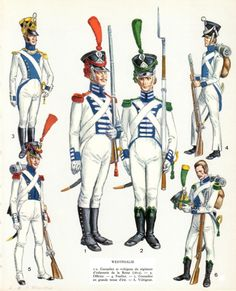 The Westphalian Infantry - The line units included the same basic three branches. The cavalry was well mounted and included both heavy and light regiments. The artillery was organized according to the Gribeauval system, with standardized and excellent guns. Napoleon's hope was that the natural martial ability of the Hessians and Brunswickers who made up the majority of the population would permeate the army (Westphalia's population was almost 2 million).