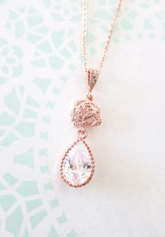 Rose Gold Cubic Zirconia Rose Flower Teardrop Necklace - gifts for her, bridal gifts, drop, dangle, pink gold weddings, bridesmaid necklace, by ColorMeMissy, www.colormemissy.com