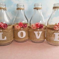 Love Flower Vase Decor on Mercari Glass Bottle Crafts, Diy Bottle, Bottle Art, Mason Jar Crafts, Mason Jar Diy, Rose Gold Christmas Decorations, Diy Crafts Hacks, Picture Frame Decor, Scrapbook Paper Crafts