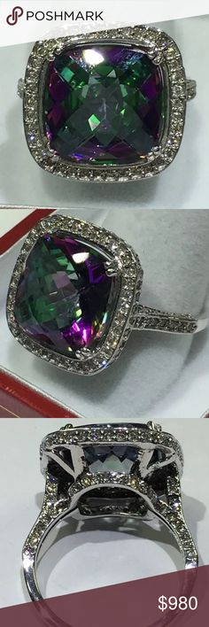 Amazing 11 carat mystic topaz & diamond ring! 14k Amazing 11 carat mystic topaz & diamond ring! 14k Jewelry Rings