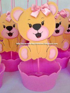 Pinkie Blue Artigos para festa: Ursinho Bege e rosa Centro de mesa