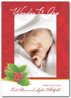 Holly on Red StarsChristmas Photo Cards from Announcingit.com - printed on *Luster Photo Paper*  designed to produce the best photo quality NOT on card stock!