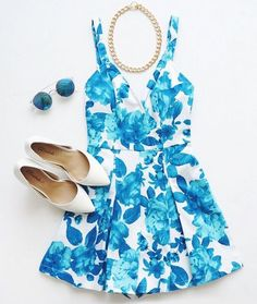 Floral in blue and white.