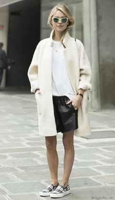White Coat & Black Shorts #pixiemarket #fashion #womenclothing @pixiemarket