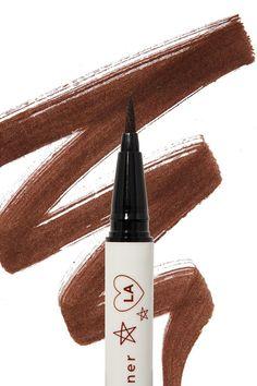 Grande rich dark brown Bff Liquid Liner with swatch in background #EyelinerStyles Brown Eyeliner, Eyeliner Pen, No Eyeliner Makeup, Makeup Dupes, Makeup Geek, Makeup Kit Essentials, Colourpop Cosmetics, Eyeshadows, Red Pixie