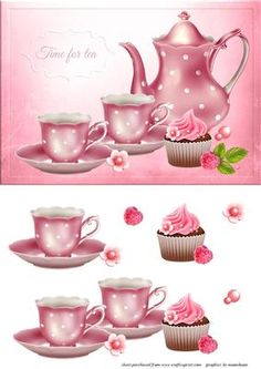 Time For Tea on Craftsuprint designed by Chris Harland - A step by step card front with tea, cup cake and raspberry decoupage - Now available for download!