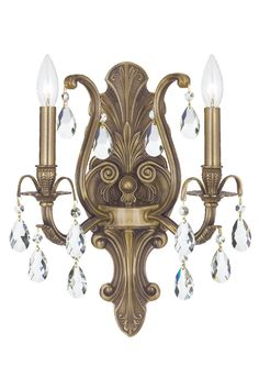 Crystorama 5563-AB-CL-SAQ 2-Lights Swarovski Spectra Wall Sconce - Antique Brass