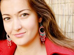 Gypsy chic earrings Chandelier Fringe turquoise red by CallOfEarth