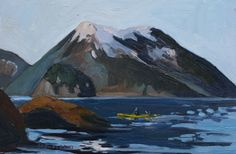 "Susan Swiderski's oil painting, ""Scenic Paddle"" Kayaking with Fox Island in the distance, Seward, Alaska"