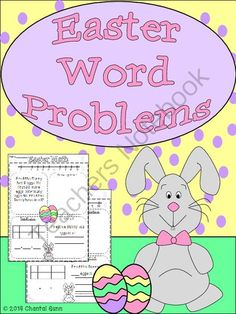 Easter Math word problems - Complete with a word problem, number line 1-10, ten frame, space to draw to solve, and handwriting lines to copy the answer in sentence form. .  A GIVEAWAY promotion for Easter Math Word Problems (K-2) from Chantal Gunn on TeachersNotebook.com (ends on 4-12-2014)