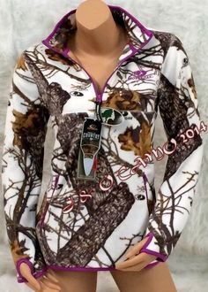 Women Mossy Oak White Camo Purple Extra Soft Micro Fleece Jacket S M L XL 2XL #MossyOak #FleeceJacket