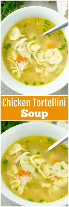 Chicken Tortellini Soup - classic chicken noodle soup made with cheese tortellini and topped with Parmesan cheese! The perfect comfort food for a chilly day or when you're feeling under the weather.