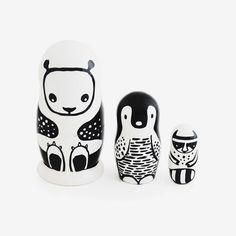 Nesting Animals - black & white